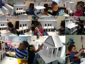 The Older Toddlers Class busy building their White House made out recycled boxes construction paper.
